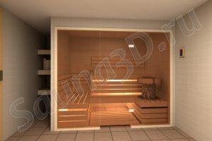проект сауны со стеклянным фасадом