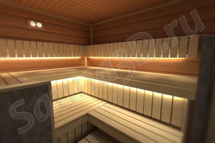 проект сауны с печью TULIKIVI