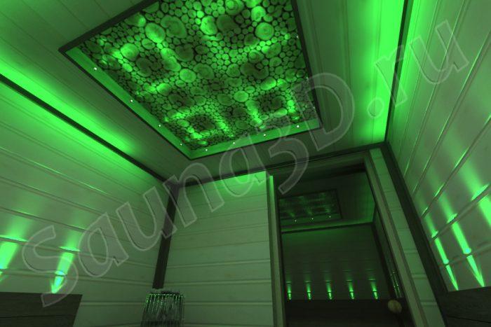 проект сауны с цветными светильниками