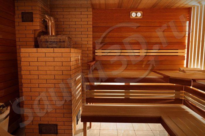 проект сауны в 3д с кирпичной печью