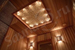 проект сауны в 3D с можжевельником в потолкке