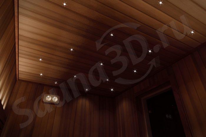 проект сауны в 3д со звездным небом