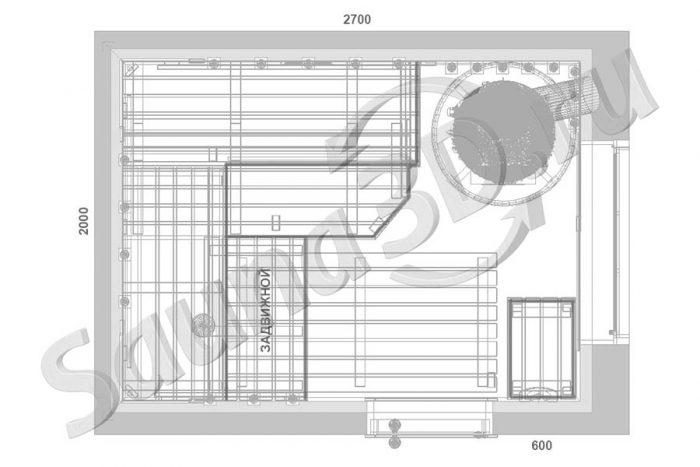 план сауны с размерами 2,7 * 2,0