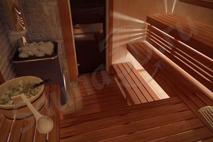 сауна из ольхи, освещение сауны, проекты бань, проект сауны, дровяные печи KASTOR