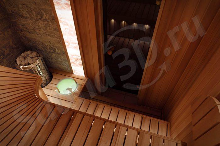 проект сауны из кедра со скруглениями в квартире