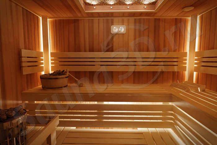 дизайн проект сауны из канадского кедра с можжевельником