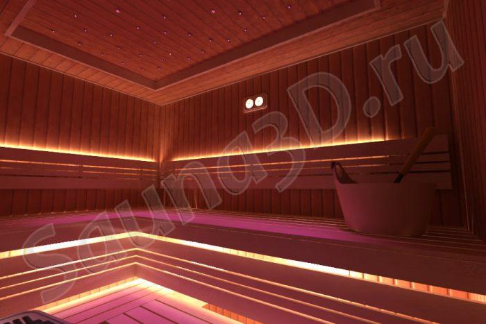 проект сауны с 2-х уровневым потолком
