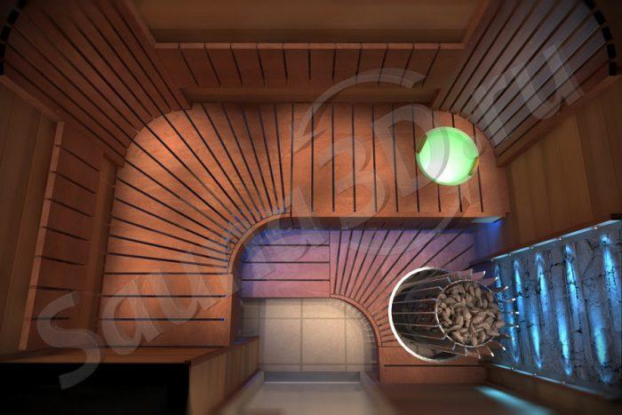 проект сауны с печью HELO Rocher