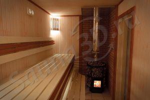 проект сауны в 3D с дровяной печью HARVIA
