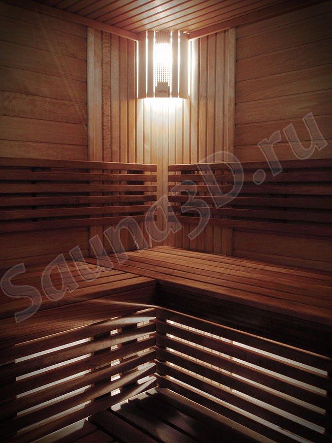 фото готовой сауны 668 проект сауны из термоосины с печью VIRTA HL110