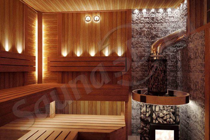 проект сауны в 3D из термоосины с дровяной печью