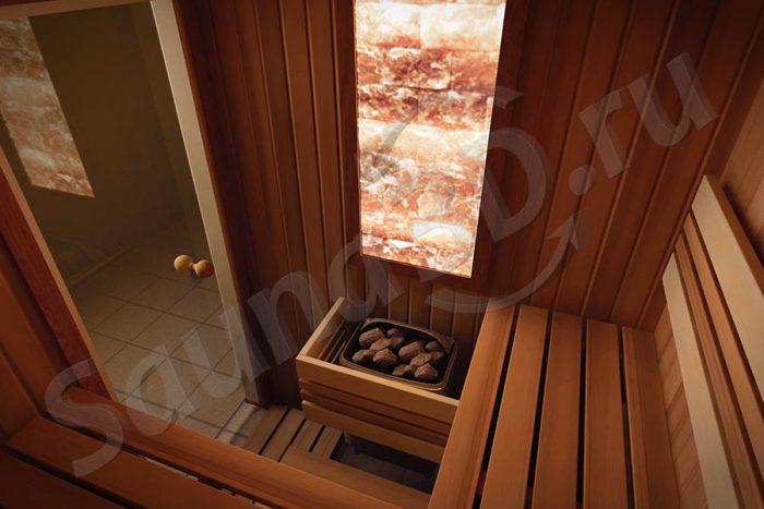 проект сауны с электрокаменкой в квартире с гималайской солью