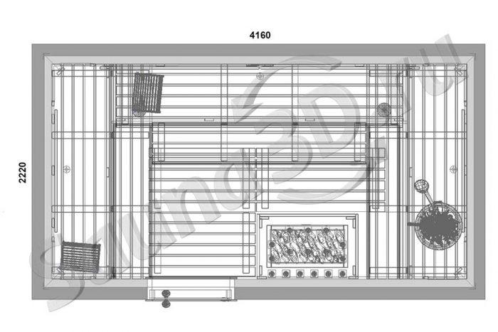 чертеж сауны из канадского кедра с мощной электрокаменкой