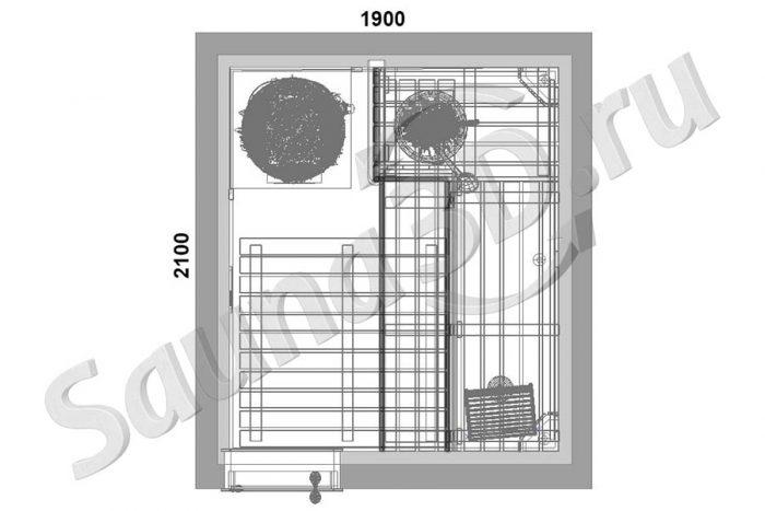 чертеж план бани из ольхи с печь HARVIA LEGEND с баком