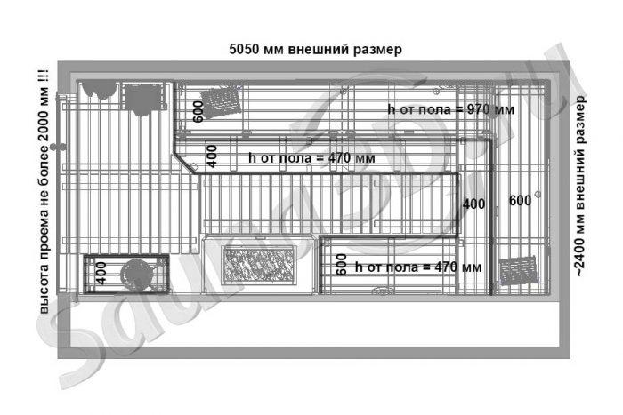 чертеж план сауны из канадского кедра с мощной электрокаменкой