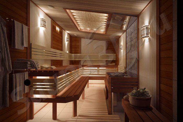 дизайн проект сауны из канадского кедра с мощной электрокаменкой
