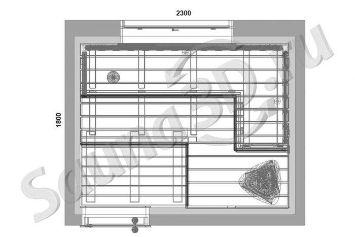 чертеж план дизайн сауны из канадского кедра полки из пропитанной ольхи