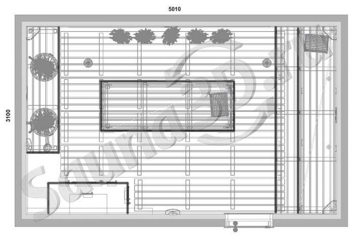 чертеж план дизайн проект русской бани из термоосины с кирпичной печью