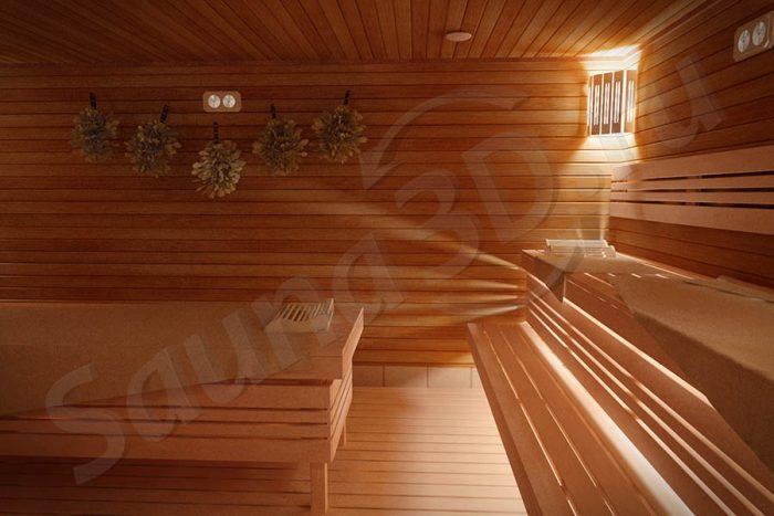 дизайн проект русской бани из термоосины с кирпичной печью