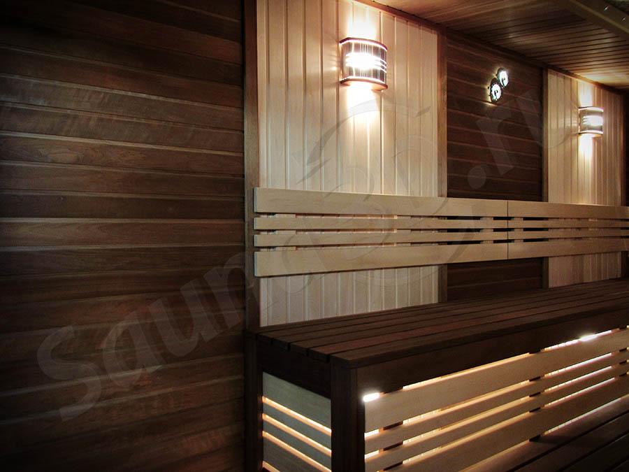 фото дизайн проект сауны из канадского кедра с мощной электрокаменкой