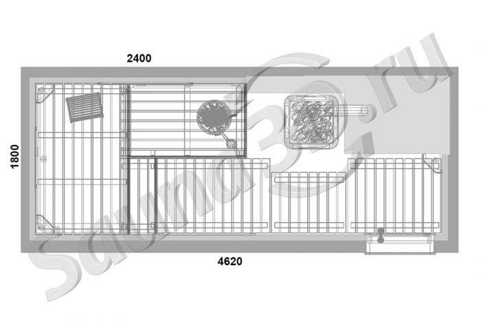 чертеж 726 дизайн проект сауны с дровяной печью KASTOR