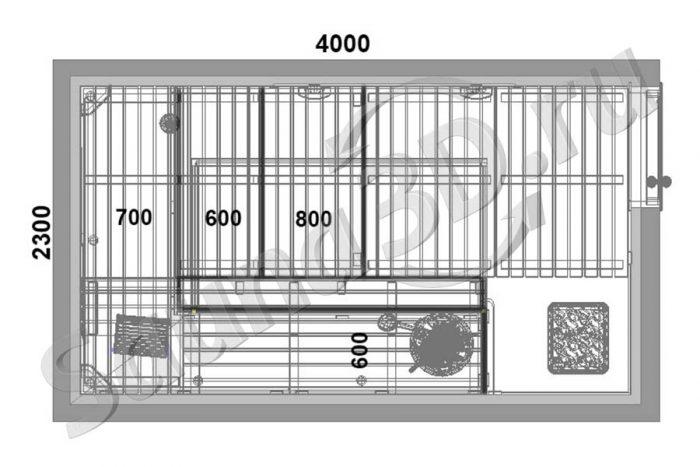 чертеж дизайн сауны 728 из ольхи с электрокаменкой HARVIА есть панорама 360