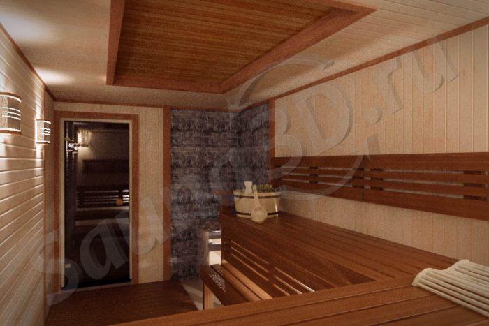 дизайн сауны 728 из ольхи с электрокаменкой HARVIА есть панорама 360