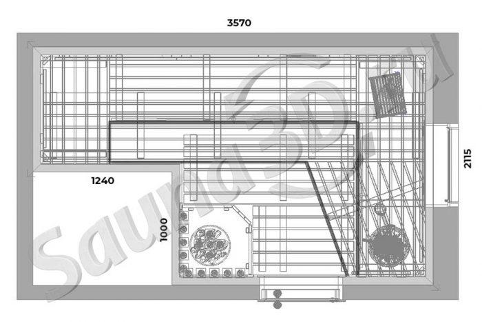 чертеж 730 дизайн проект сауны в загородном доме