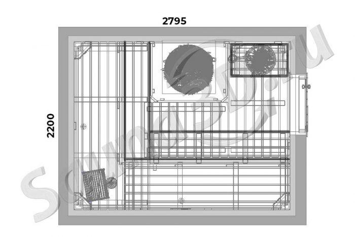 чертеж 731 дизайн проект бани 3д из шале и горбыля