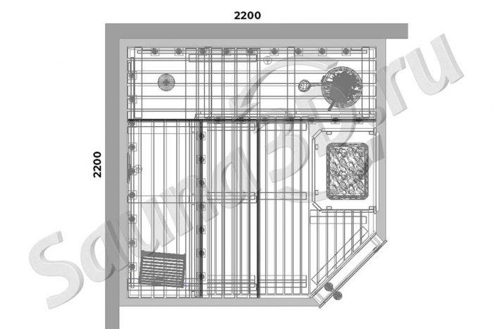 чертеж 732 дизайн проект сауны в 3д