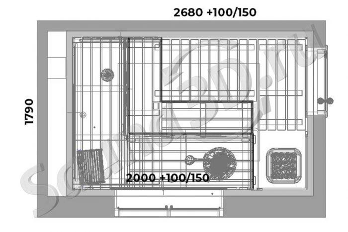 чертеж 734 дизайн проект сауны 3д печь Tulikivi KUURA
