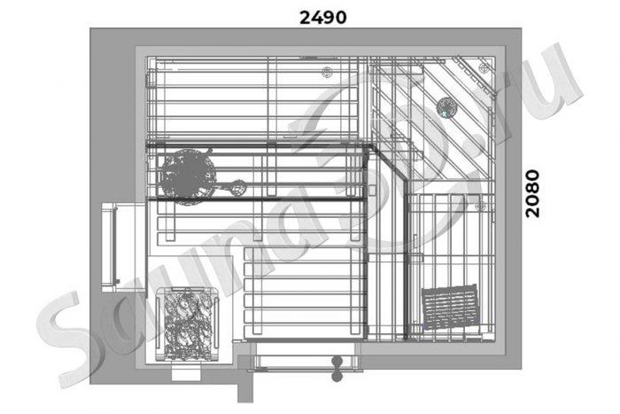 чертеж 735 дизайн проект бани с газовой печью
