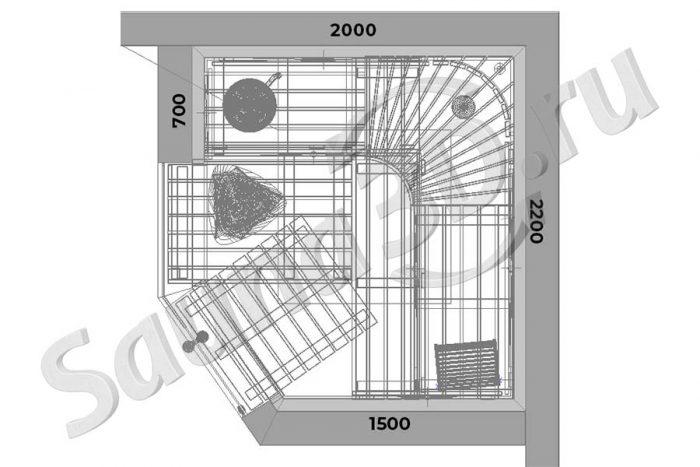 чертеж 738 дизайн проект сауны из ольхи с HARVIA KIVI