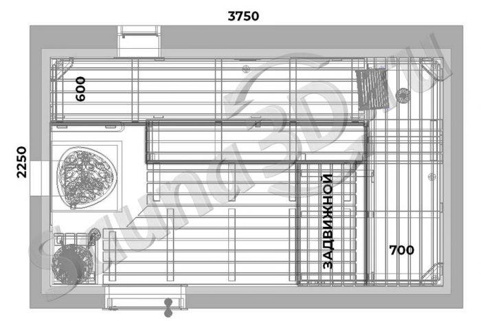 чертеж 739 дизайн проект бани из ольхи Ферингер Классика Паровая