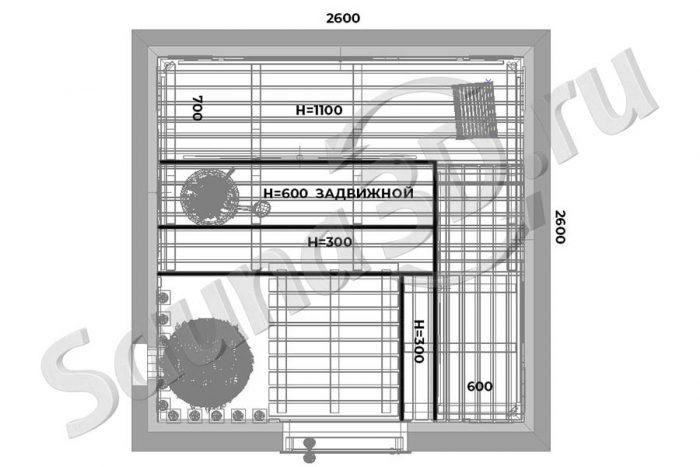 чертеж план 742 дизайн проект сауны со светодиодной подсветкой