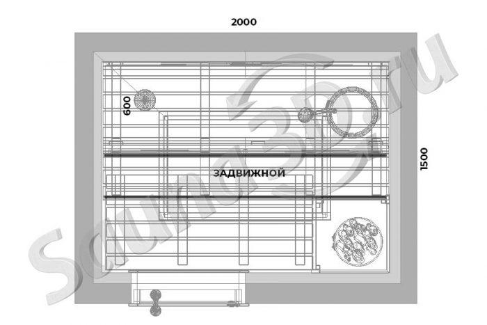 чертеж план 743 дизайн проект сауны из термоосины с HARVIA Cilindro