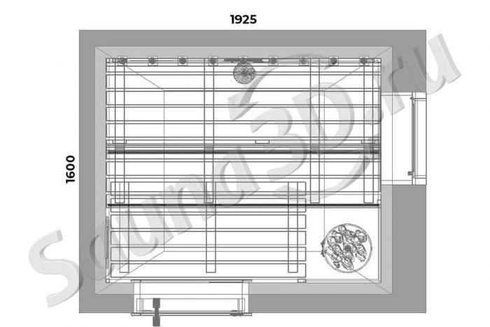 чертеж план 744 дизайн проект сауны из термомагнолии с HARVIA Cilindro