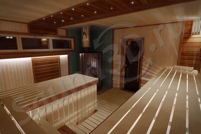 745 внутренняя отделка бани с дровяной печью AITO