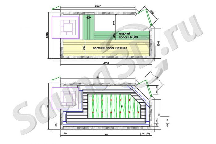 чертеж план 746 внутренняя отделка бани с кирпичной печью.