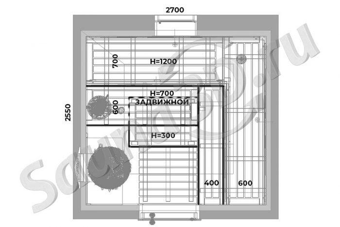 чертеж план 747 дизайн внутренней отделки бани из термодоски Шале