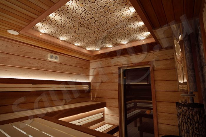 747 дизайн внутренней отделки бани из термодоски Шале