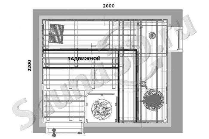 чертеж план 748 внутренняя отделка сауны из канадского кедра с HARVIA