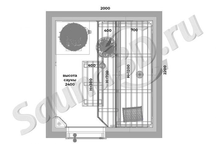 чертеж план 750 дизайн проект бани со светодиодной подсветкой