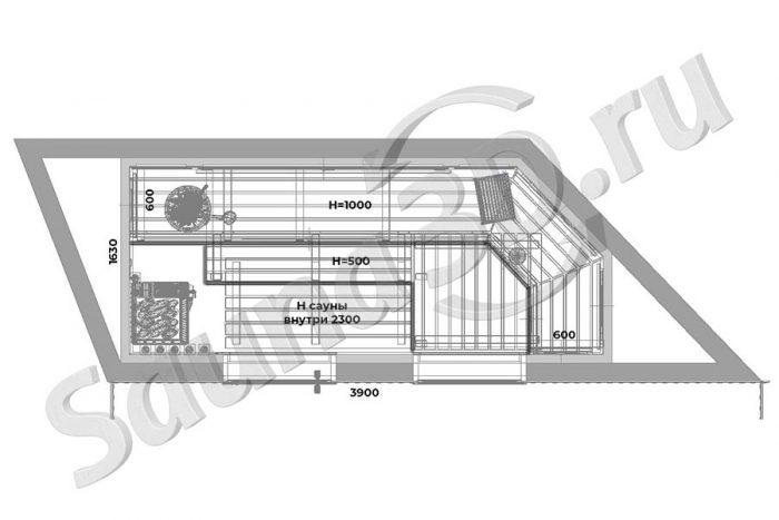 чертеж план 754 отделка сауны из канадского кедра с гималайской солью