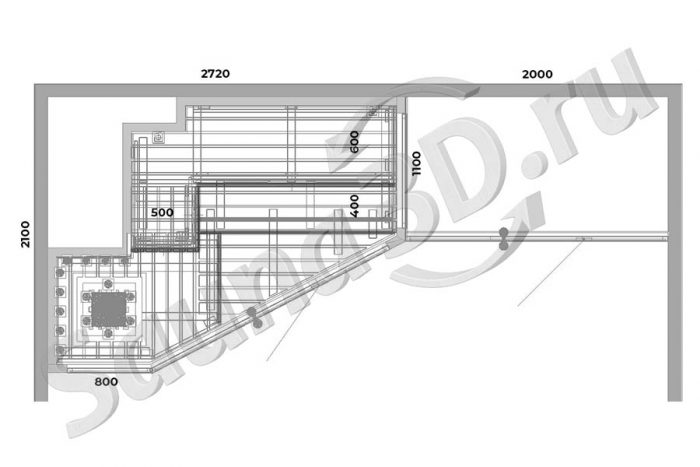 чертеж план 756 отделка сауны из ольхи со стеклянным фасадом и душевой