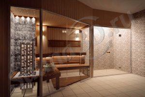 756 отделка сауны из ольхи со стеклянным фасадом и душевой