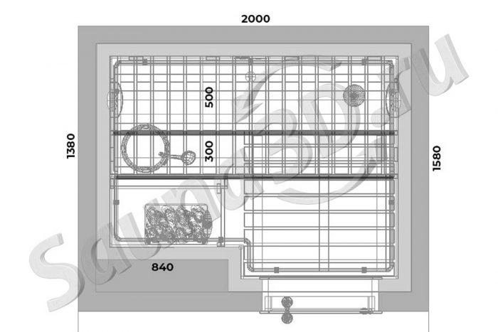 чертеж план 757 проект сауны из ольхи с пожарным сухотрубом по периметру
