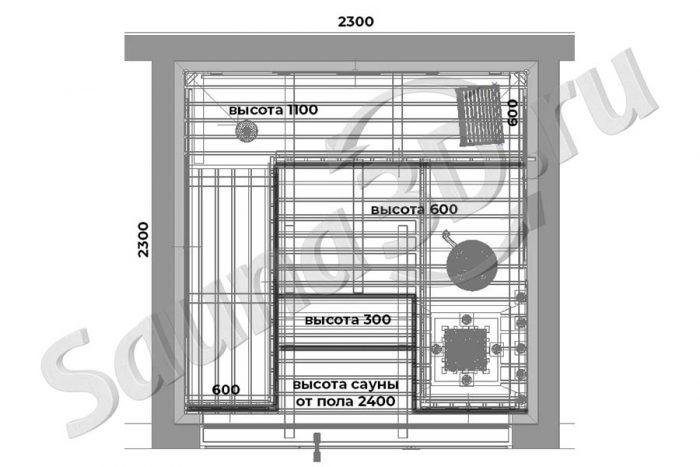 чертеж план 758 дизайн проект отделки сауны из абаши, стеклянный фасад