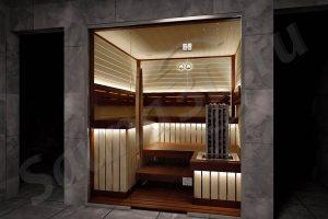 758 дизайн проект отделки сауны из абаши, стеклянный фасад