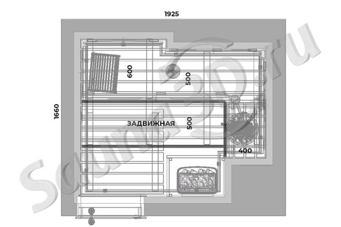 чертеж план 759 дизайн проект отделки сауны из липы, каменка HARVIA